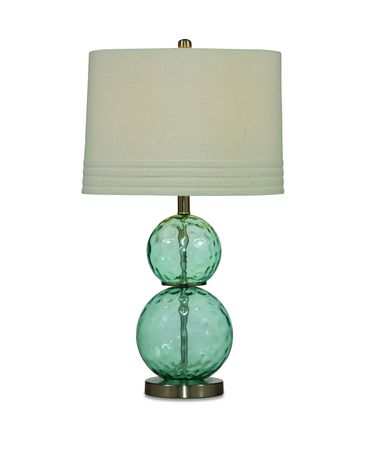 Shown in Blue Dimple Glass finish and Fabric shade