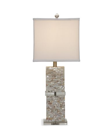 Shown in Mother Of Pearl finish and Fabric shade
