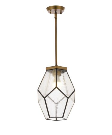Shown in Antique Brass finish and Clear glass