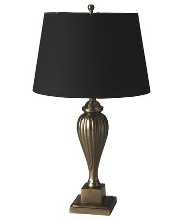 Shown in Antique Brass finish and Linen shade