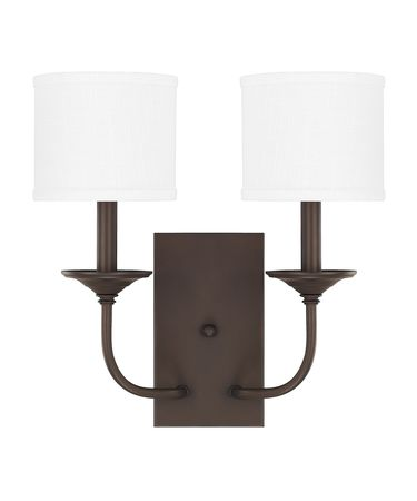 Shown in Burnished Bronze finish and White Fabric Stay-Straight shade