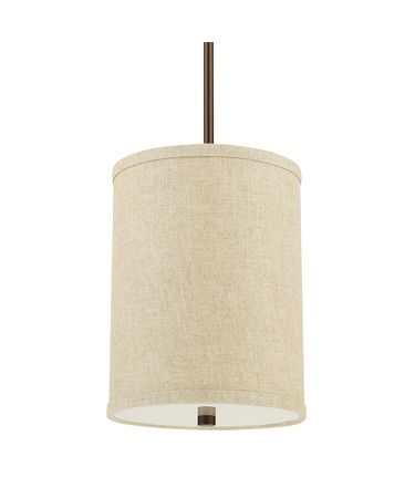 Shown in Burnished Bronze finish, Frosted  Diffuser with Finial glass and Beige shade