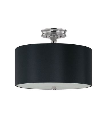 Shown in Polished Nickel finish, Frosted glass and Black Fabric shade