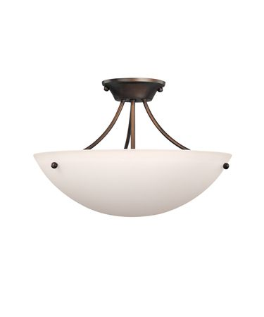 Shown in Burnished Bronze finish and Soft White glass
