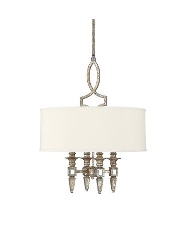 Shown in Silver and Gold Leaf with Antique Mirrors finish and Fabric shade