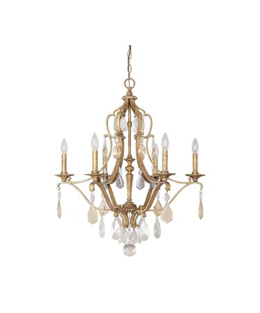 Shown in Antique Gold finish and Painted crystal