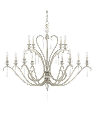 Shown in Antique Silver finish, Seeded crystal and No Shade shade
