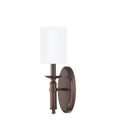 Shown in Burnished Bronze finish and Fabric shade