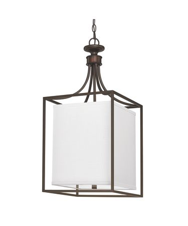 Shown in Burnished Bronze finish and White Fabric shade