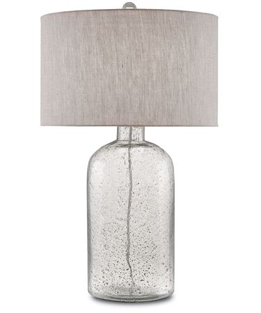 Shown in Clear Speckled Glass-Steel Gray finish and Natural Linen shade