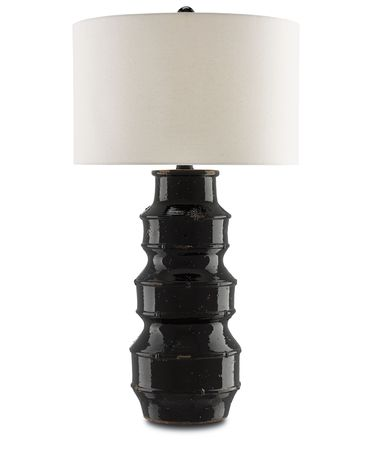 Shown in Glossy Black-French Black finish and Fleck Linen shade