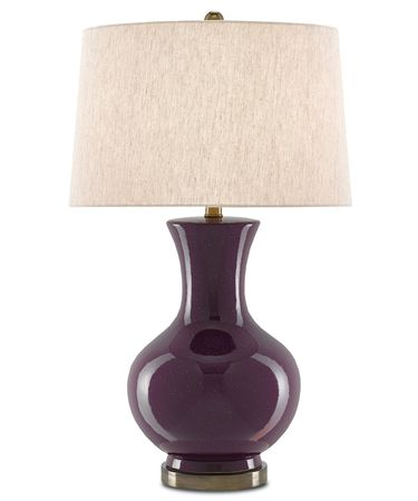 Shown in Plum-Bronze finish and Tan Linen shade