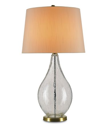 Shown in Clear Crackle Glass-Brass finish and Eggshell Shantung shade