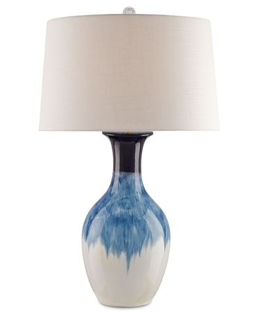 Shown in Cobalt finish and Off White Linen shade