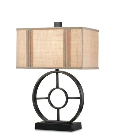 Shown in Antique Black finish and Putty Linen shade
