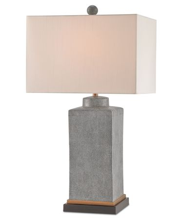 Shown in Gray-Brass-Dark Brown finish and Off White Shantung shade