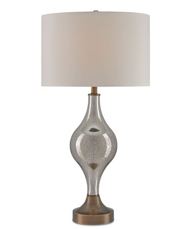 Shown in Gold Mercury Glass-Coffee Bronze finish and White Shantung shade