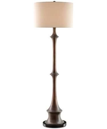 Shown in Dark Brown-Black finish and Off White Linen shade