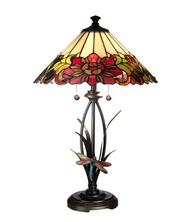 Shown in Antique Bronze Paint finish and Hand Rolled Art Glass shade