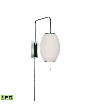 Shown in Satin Nickel finish and Round White Fabric shade
