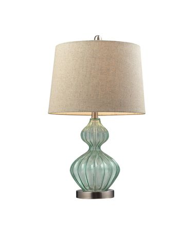 Shown in Brushed Nickel finish, Natural Linen shade and Light Green Smoke accent