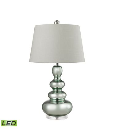 Shown in Clear finish, White Linen shade and Silver Mercury-Light Green accent