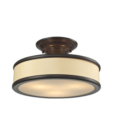 Shown in Oil Rubbed Bronze finish and Beige Fabric shade
