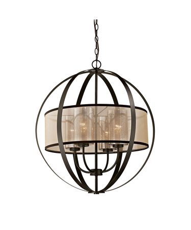 Shown in Oil Rubbed Bronze finish, Mercury glass and Beige organza shade