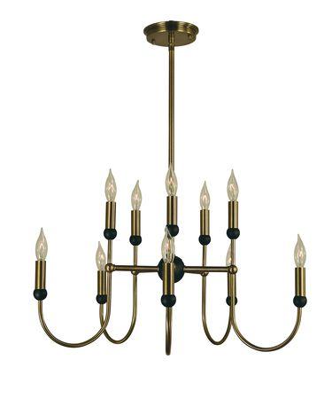 Shown in Antique Brass-Matte Black finish