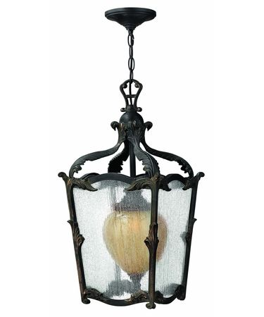 Shown in Aged Iron finish, Clear Seedy glass and Antique Copper accent