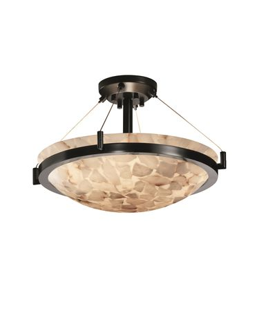 Shown in Matte Black finish, Alabaster Rocks glass and Round Bowl (ALR) shade