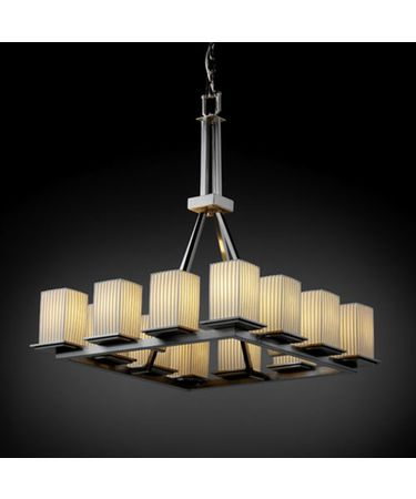 Shown in Brushed Nickel finish, Pleats glass and Square with Flat Rim (POR) shade