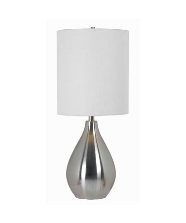 Shown in Brushed Steel finish and White Tall Drum shade
