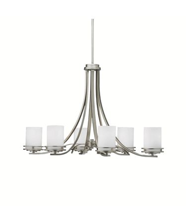 Shown in Brushed Nickel finish and Satin Etched Opal glass