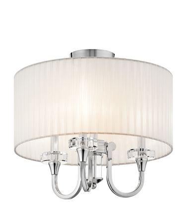 Shown in Chrome finish, Organza Fabric shade and K9 Optical Crystal Accents accent