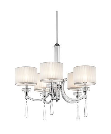 Shown in Chrome finish, Organza Fabric shade and K9 Optical Crystal Column And Accents accent