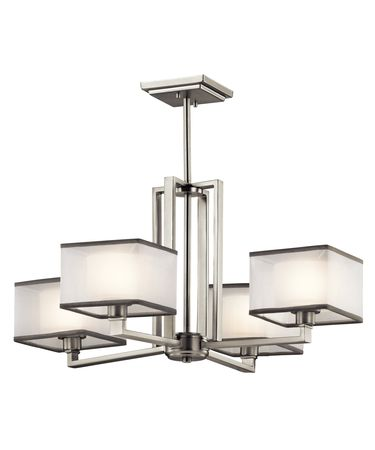 Shown in Brushed Nickel finish and Organza shade
