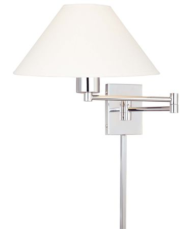 Shown in Chrome finish, Stretched Oyster Linen shade and included cord cover accent