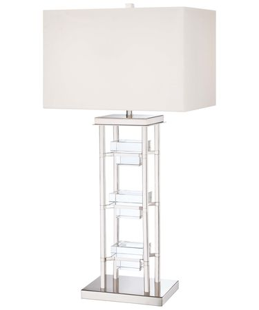 Shown in Polished Nickel finish and White Fabris with Seede Crystal shade