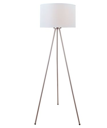 Shown in Polished Steel finish and White Fabric shade