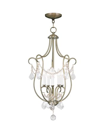 Shown in Antique Brass finish and Clear crystal