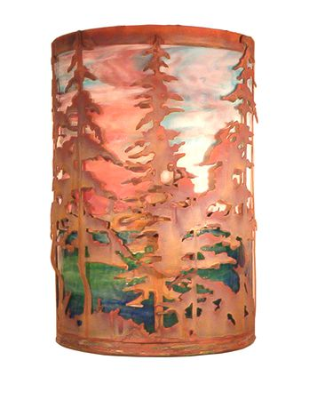 Shown in Vintage Copper finish and Sunset-Azure glass