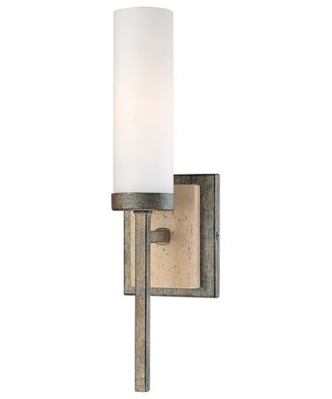 Shown in Aged Patina Iron with Travertine Stone finish and Etched Opal glass