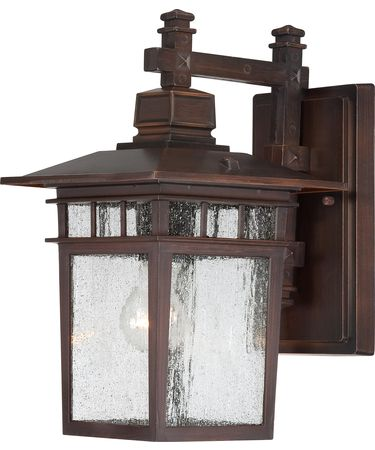Shown In Rustic Bronze finish with Clear Seeded glass