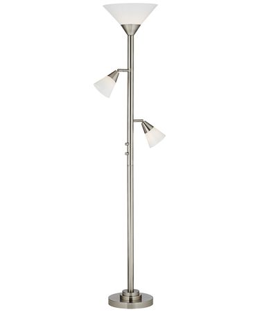 Shown in Brushed Nickel-Brushed Steel finish and Glass shade