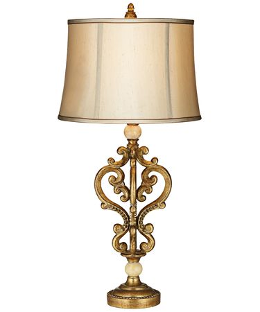 Shown in Antique Gold finish and Faux Silk Fabric shade