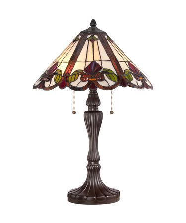 Shown in Western Bronze finish and Tiffany Style Art glass
