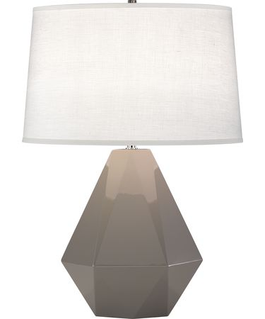 Shown in Polished Nickel-Smokey Taupe finish and Oyster Linen shade
