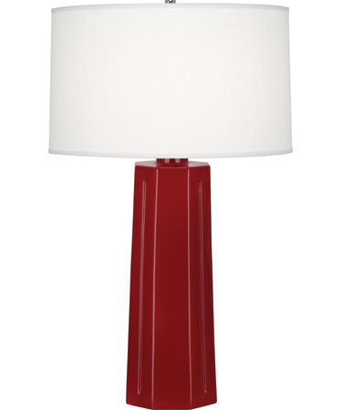 Shown in Polished Nickel-Oxblood finish and Oyster Linen shade