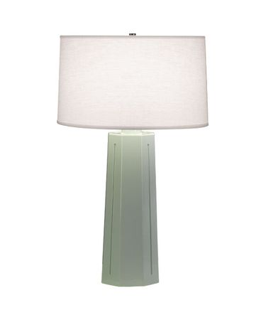 Shown in Polished Nickel-Celadon finish and Oyster Linen shade